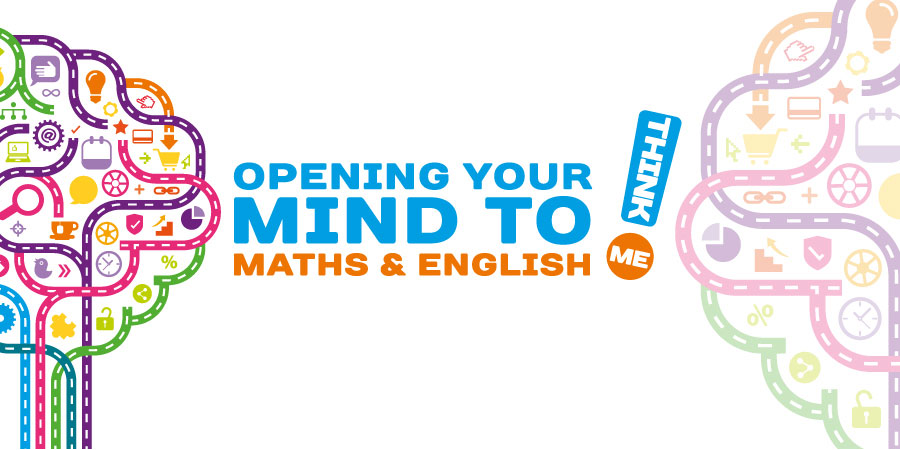 The Think Maths and English logo with a graphic stating, 'Opening your mind to maths and English'
